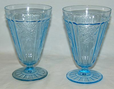"2 Anchor Hocking MAYFAIR/OPEN ROSE BLUE *5 1/4""- 10 oz FOOTED WATER TUMBLERS*"