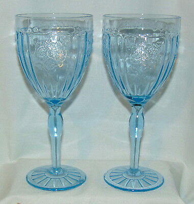 "2 Anchor Hocking MAYFAIR/OPEN ROSE BLUE *7 1/4"" 9 oz THIN WATER GOBLETS*"