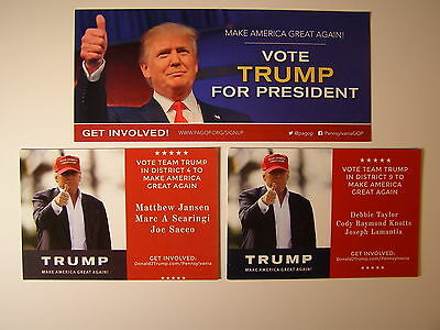 Donald Trump Official 2016 Campaign Material from Pennsylvania 3 Items