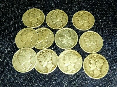 LOT OF (11) Mercury Dimes 90% Silver US Coins Old Currency 1917-1943 Mixed Dates