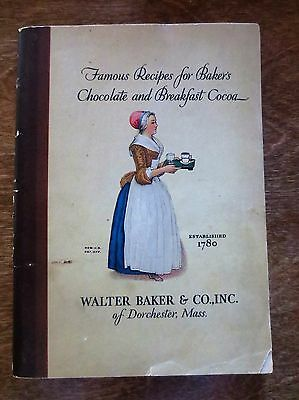 1928 Famous Recipes Walter Baker's Chocolate Breakfast Cocoa Ad Cookbook Book