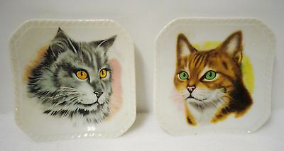 """Cat Plates (SET of 2) Grey and Tabby 4.5"""" Diameter (Pre-owned)"""