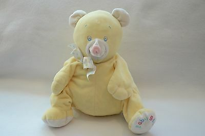 EDEN Plush BABY BEAR Yellow Teddy Vintage Stuffed Animal Toy Pink Nose Plump