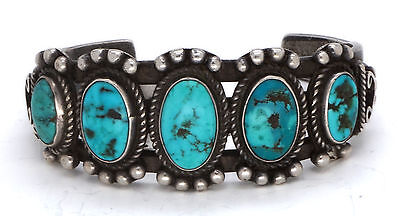 Early Vintage Navajo Bracelet Turquoise Heavy Sterling Silver Native American