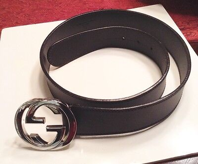 GUCCI Men's Black Leather Belt with GG Buckle NEW!