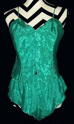 Vintage VICTORIA'S SECRET Gold Label Green Satin Damask Camisole Tap Panties S