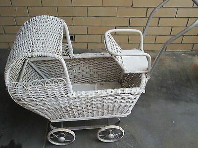 Old Vintage White Cane Pram. 42 Years Old! Pick Up Only