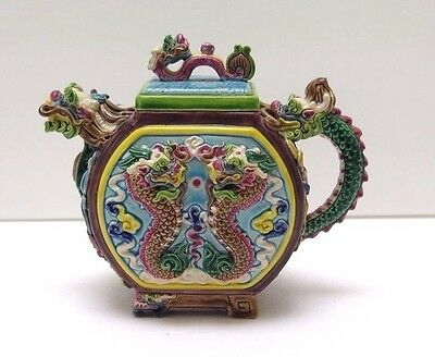 Vintage Ceramic Dragon Teapot - Detailed Applied Turquoise Pink Green Design