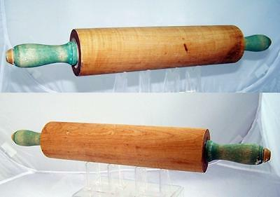 Vintage Munising Maple Wood Rolling Pin With Revolving Green Handles (Marked)