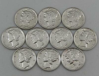 10 Higher Grade Mercury Silver Dime Lot 10C All Different 1939-1945 P D S A0777