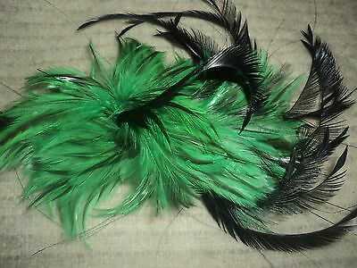 Fascinator Stunning Emerald Green & Black Feathers comb style