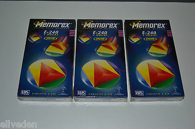 New & Sealed 3x (Three) Memorex E-240 4 Hours Super High Quality Blank VHS Tapes