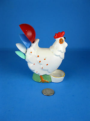 VINTAGE Retro CERAMIC ROOSTER Chicken MEASURING SPOON Spoons HOLDER M G JAPAN !!