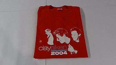 Clay Aiken INDEPENDENT 2004 Tour Shirt Red Front & Back Print Size Large