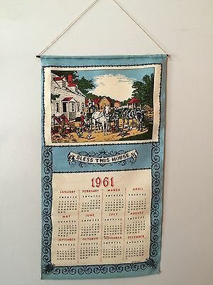 "Vintage 1961 Linen Wall Calendar In Original Box ""Bless This House"" Horses"