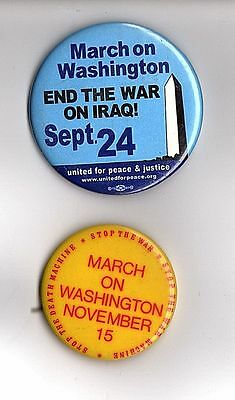 march on washington 1969 AND IRAQ pinback buttons anti war political pins