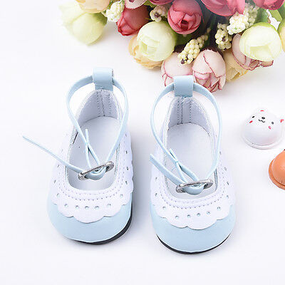 Blue&White Leather Ankle Belt Shoes For 18inch American Girl Doll Party Toys