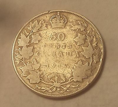 1917 Canada 50 Cents Coin (92.5% Silver) - King George V