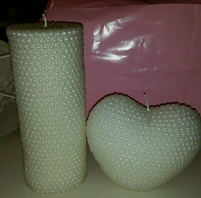 Set of 2 Candles Unscented Textured White Pearl Wedding Bridal Shower Decor EUC