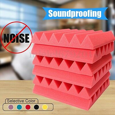 6pcs Acoustic Studio Music Foam Soundproofing Absorption Treatment Wedge Tiles