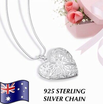 Stunning Love Heart Star Pendant Locket 925 Sterling Silver Chain Necklace