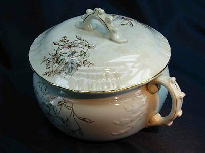 Antique White Aesthestically Decorated Large Lidded Chamber Pot
