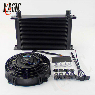 """Universal 25 Row 10AN engine Transmission AN10 Oil Cooler + 7"""" Electric Fan BK"""