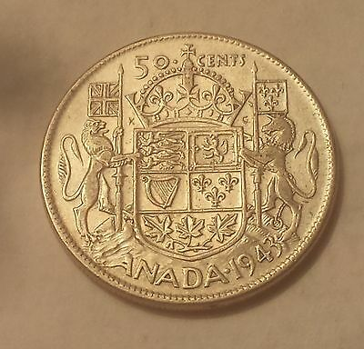 """1943 Canada 50 Cents Coin (80% Silver) - Damaged (""""C"""" In Canada melted out)"""