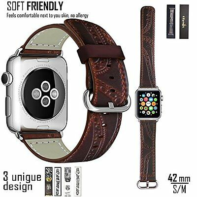 Apple Watch Band 42mm Classic Leather iWatch Chocolate Wrist Strap Replacement