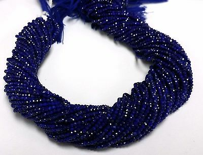 """100% Natural Afghani Lapis Lazuli Faceted Rondelle Beads Single Strand 6"""""""