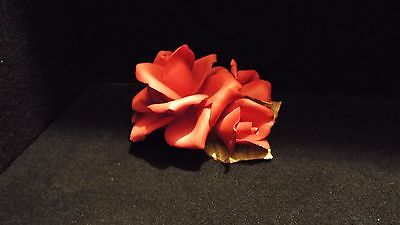 Full Red Rose With 2 Smaller Blooms ~ Capodimonte~ Beautiful !!