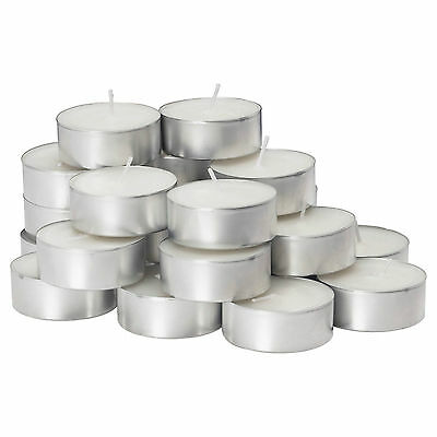 White Unscented Tea Lights Candles 4 Hours Burning T-Lights 2 25 100