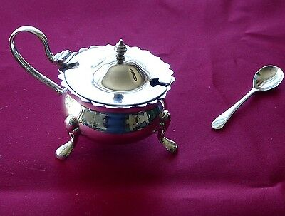 Sterling Silver Mustard Pot Blue Glass Liner Birmingham 1957 with Silver Spoon