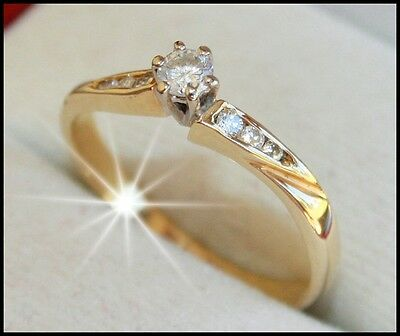 Brand new genuine DIAMOND engagement ring in solid 18K 18ct YELLOW GOLD