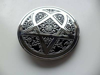 Large Round Silver Metal Black Enamel Pentagram 3 Point Star Belt Buckle