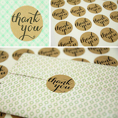"360X ""Thank You"" Craft Kraft Sticker Label Wedding Topper Packaging Seal Sticker"