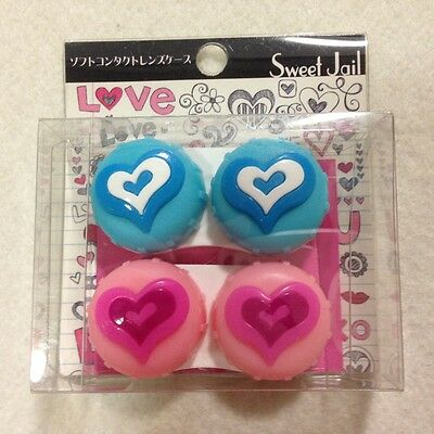 Contact lens Eye lens Case Container Heart Lovely Cute Pink & Blue 2 Set Japan