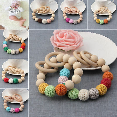 Baby Kids Newborn Teething Chewie Round Wood Mom Bracelet Wooden Teether Toy