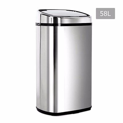 58L Stainless Steel Bin Rubbish Motion Sensor Waste Automatic Trash Kitchen