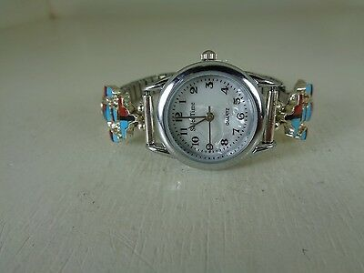 Ladies Watch Tips .925 With Watch & Multi. Inlay Stones By Selina Jake Navajo