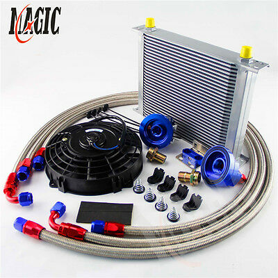 """Universal 30 Row AN8 engine Transmission Oil Cooler + BL 7"""" Electric Fan Kit"""