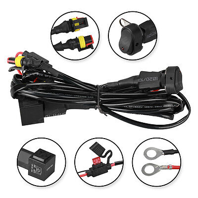 40A Universal Car Work Fog Light 12V Wiring Harness Switch On/Off For BMW