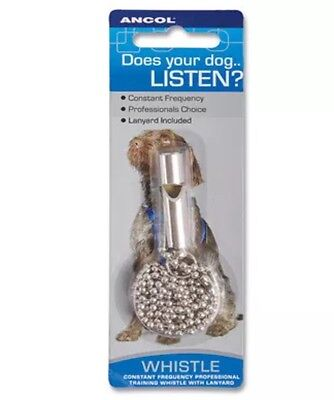 NEW ANCOL Constant Frequency Professional Dog Puppy Training Whistle + Chain JTB