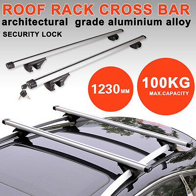 123cm Aluminum Alloy Car Top Roof Rack Locking Cross Bars Rail Aero Lockable