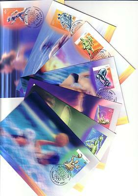 10 Australian Olympics 2000 cards wth stamps and first day cancellations.