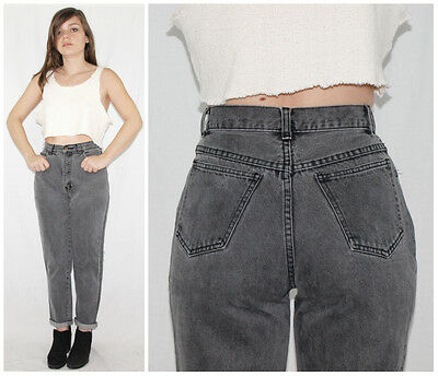 Vintage 80´s MOM JEANS high waist + tapered leg FADED CHARCOAL apple bottom