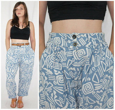 Vintage 80´s CHAMBRAY PANTS high waist + tapered leg BATIK made in Spain PREPPY