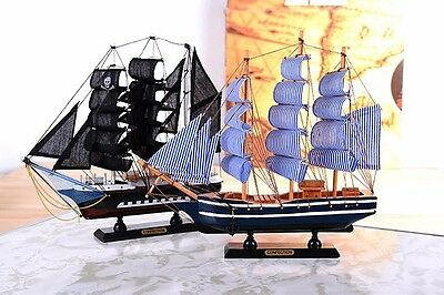 Wooden Sailboat ship Model Craft Carving Nautical Mediterranean Style Home Decor