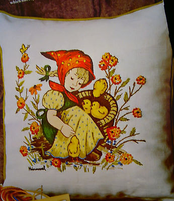 Paragon Needle Craft Pillow Embroidery Stitchery Kit *Chick Girl* Tapestry