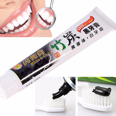 Pro 100g Bamboo Charcoal All-Purpose Teeth Whitening Clean Black Toothpaste !
